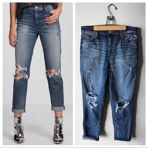 Express High Rise Girlfriend Jeans Distessed 6